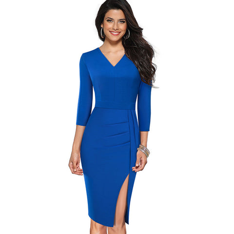 Elegant Pure Color Split Office Work Dress Business Party Bodycon Women Dresses