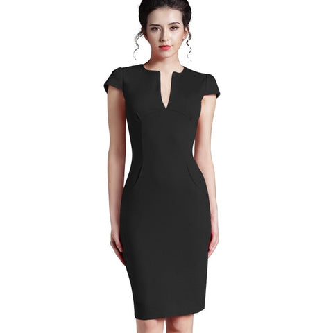 Office Women Vintage Summer V Neck Zipper Back Formal Stretch Pencil Work Bodycon Pocket Dresses
