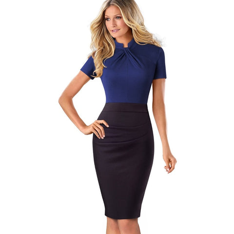Vintage Contrast Color Patchwork Wear to Work Knot Bodycon Office Business Sheath Women Dresses