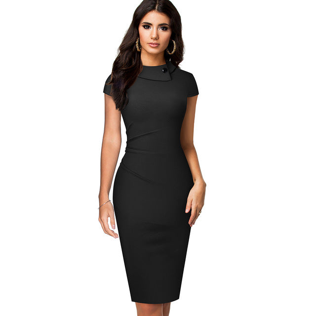 Vintage Elegant Pure Color Button Office Work Business Formal Bodycon Women Pencil Dresses