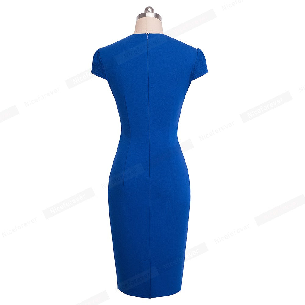 Vintage Solid Color Floral Wear to Work Jacquard Bodycon Office Business Sheath Women Dress