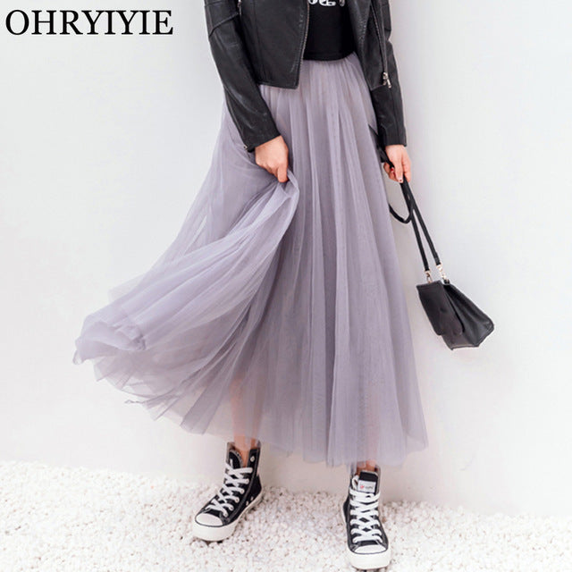 ebb21857f3 ... Spring Summer Vintage Skirts Women Elastic High Waist Tulle Mesh Skirt  Long Pleated Tutu Skirt ...
