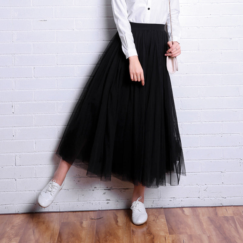 Spring Summer Vintage Skirts Women Elastic High Waist Tulle Mesh Skirt Long Pleated Tutu Skirt