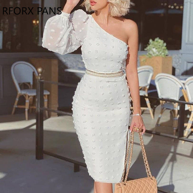 One Shoulder Puffed Sleeve Swiss Dot Dress Bodycon Dresses