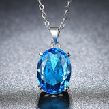 Oval Pendant Necklace Women Clavicle Chain Personality Blue Crystal Charms Necklace Jewelry