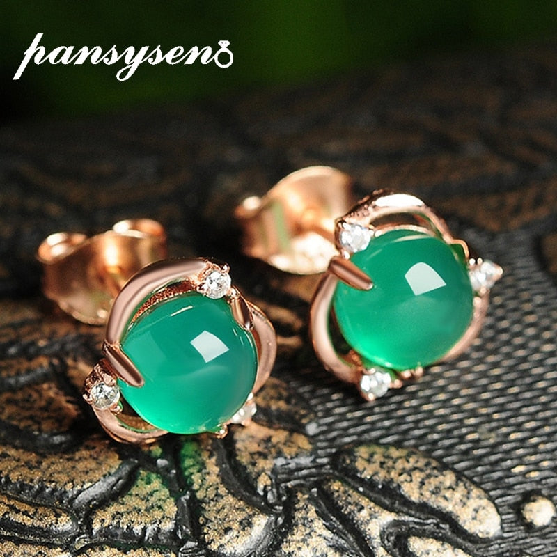 Green Chalcedony Stud Earrings Real 100% 925 Sterling Silver Women Earring Party Fine Jewelry