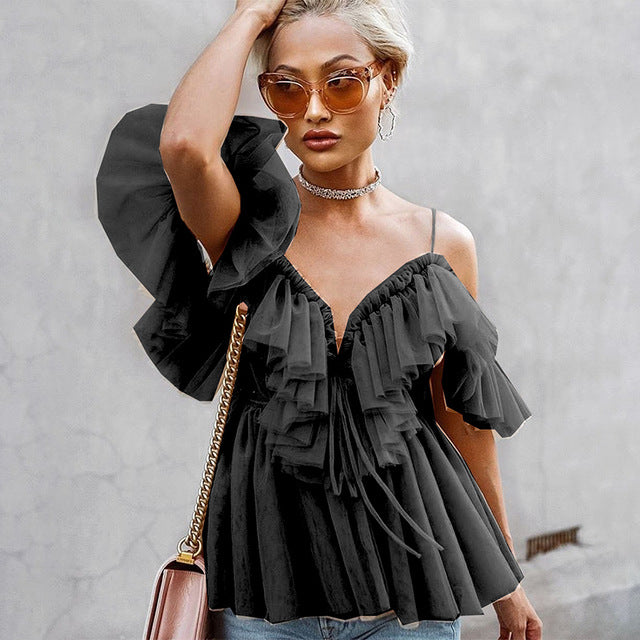 Vintage Ruffle Summer Women Blouse Shirt Top Off Shoulder Pepplum Top Mesh Backless Blouse