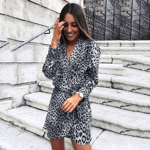 Party Dress Women V-Neck Leopard Print Shirt Spring Summer Office Wrap Loose Mini Dresses
