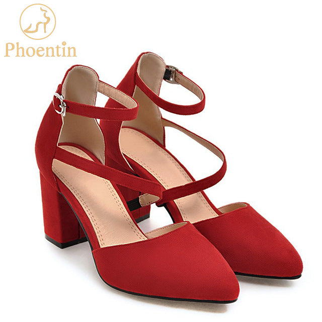 Ankle Strap Red Shoes Women Narrow High Heels Shoes Large Size Pumps Velvet Black