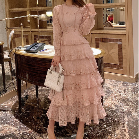 Pink Lace Embroidery Maxi Dress Women Spring Winter Full Sleeve High Waist Ruffle Long Party Dresses