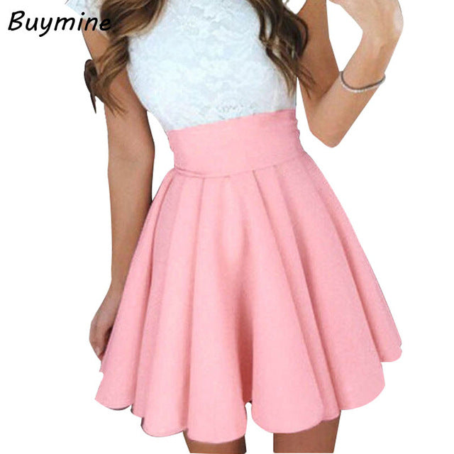 a64a3602a6 ... Pink Skirt High Waist Pleated Skirts Summer Short Cute Bottoms Cool Big  Size Skirts ...
