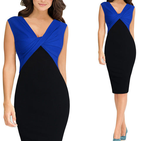 Plus Size Summer Patchwork Fold Work Office Dress Bodycon Sleeveless Women Casual Party Dresses