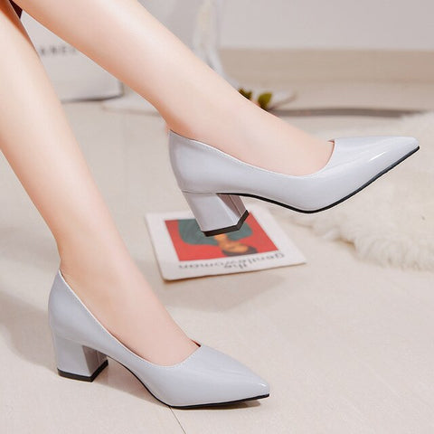 Plus Size Women Shoes Pointed Toe Square Heels Pumps High Heels Pump Patent Leather Shoes