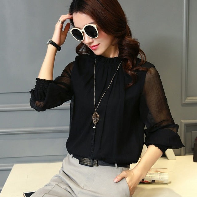 Spring Autumn Tops Women Office Mesh Chiffon Shirt Casual Long Sleeve Slim Shirts Sweet Stand Neck Blouse