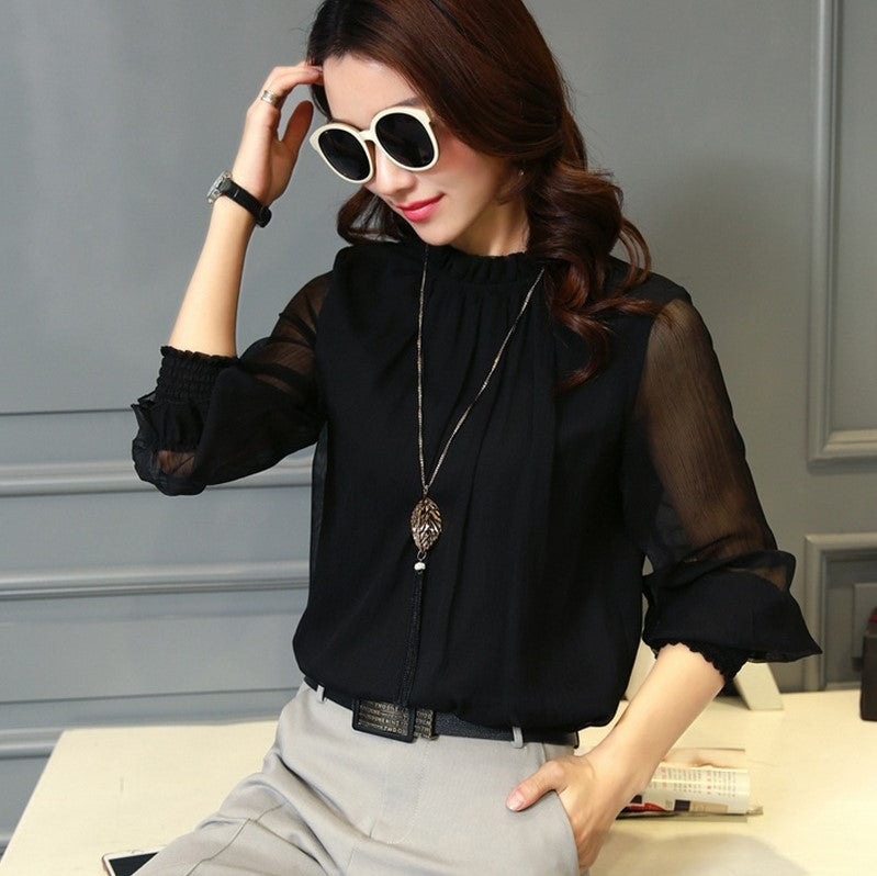 Plus Size Spring Autumn Tops Blouses Office Mesh Chiffon Shirt Casual Long Sleeve Slim Shirts Sweet Stand Neck Blouse