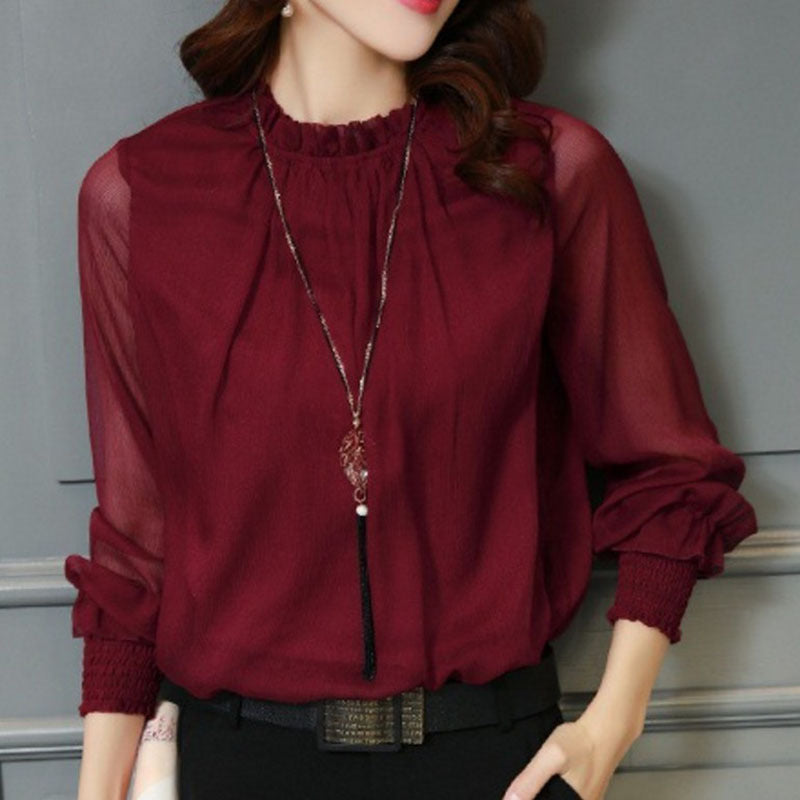 f1f54e08a697f2 Spring Autumn Tops Women Office Mesh Chiffon Shirt Casual Long Sleeve Slim  Shirts Sweet Stand Neck ...