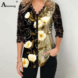 Plus Size Boho T-shirt Lace Splice Loose Women Tops Summer V-neck Tee Shirt Casual Pullovers