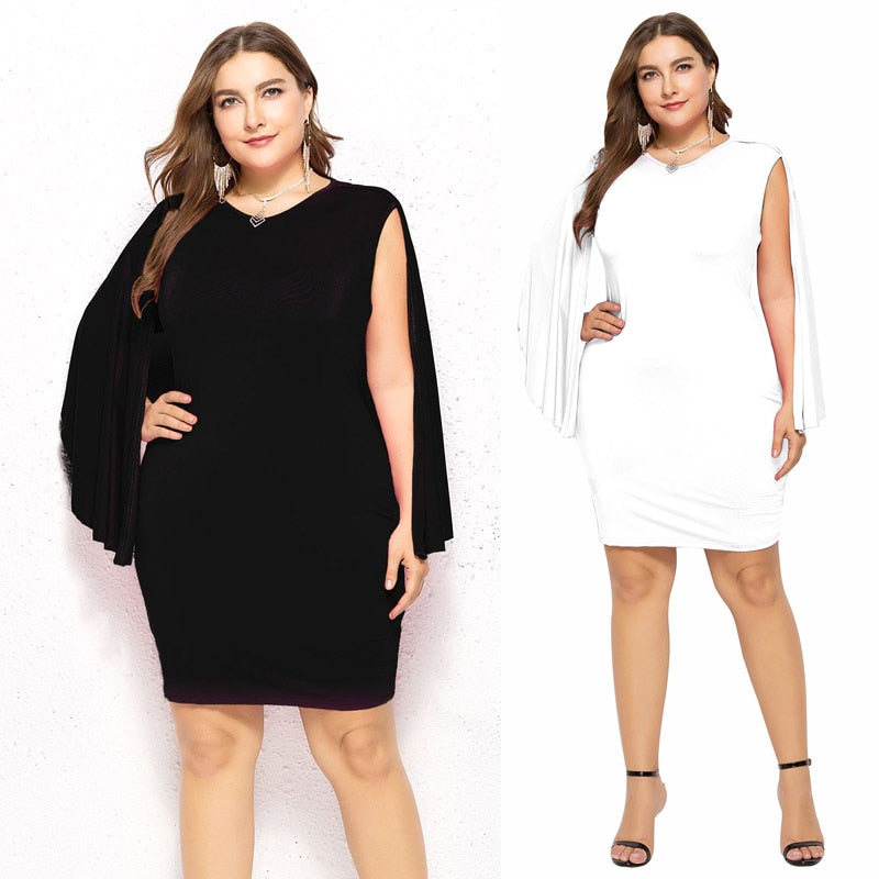 Plus Size Black Patchwork Mini Dress Women Sundress Summer V-neck Cape Sleeves White Mini Dresses