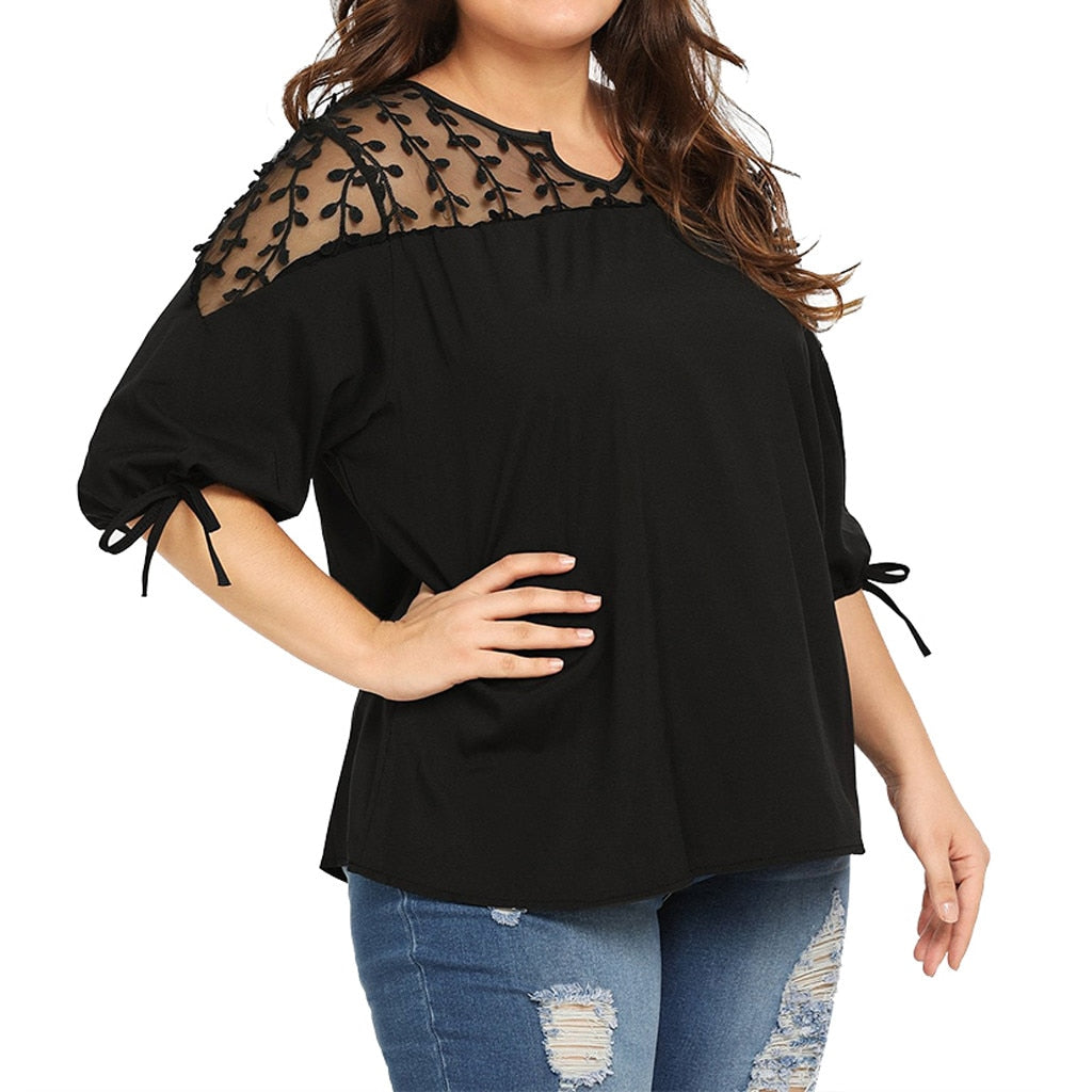 Plus Size Chiffon Blouse Women Mesh Perspective Tops Ribbons Lantern Sleeve Shirt