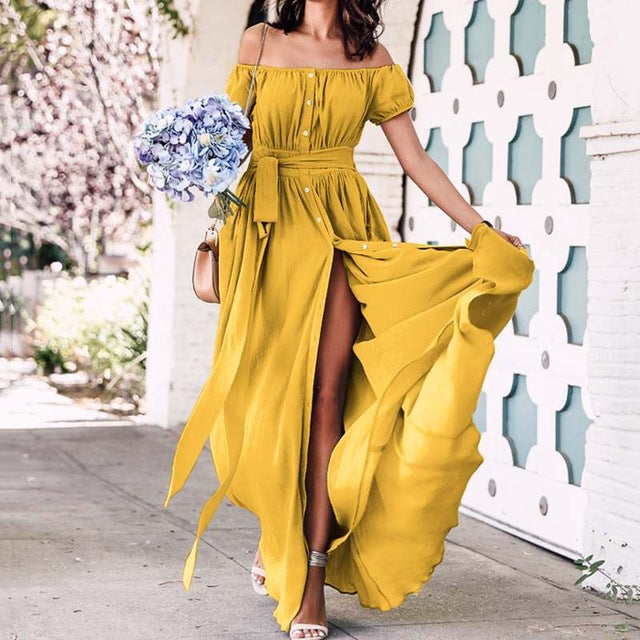 Plus Size Off Shoulder Maxi Long Dress Women Solid Casual Loose Buttons Ruffle Split Dresses Summer