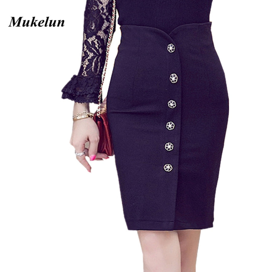 Womens Skirts Plus Size Pencil Skirt Ladies High Waisted Button Stretchy Bodycon Office Mid Skirt