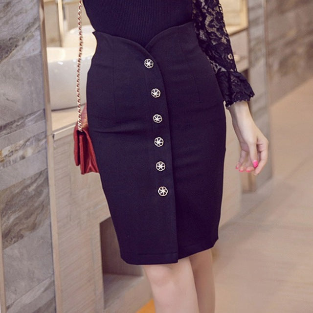 bb053cd23 ... Plus Size Office Skirt Summer Slim Bodycon High Waist Button Split  Formal Office Black Pencil Skirts ...