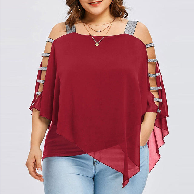 Plus Size Summer Women Chiffon Strapless Cold Shoulder Loose Shirt Tops Casual Long Sleeve Blouse