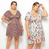 Plus Size Summer Women Mini Dress Boho High Waist Beach Dresses Backless Short Sleeve Floral Plaid Sundress