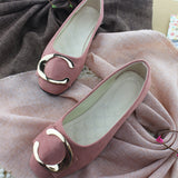 Plus Size Women Shoes Candy Color Loafers Metal Boat Faux Suede Slip on Flats Velvet Shoes