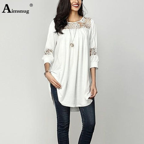 Plus Size Women Summer Boho Hollow Lace Black Tops Three Quarter Sleeve O-Neck T-Shirt Casual Loose