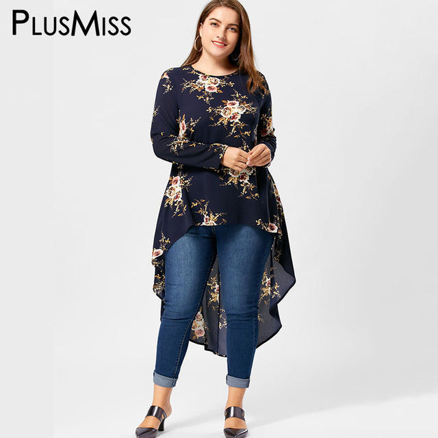 0eeee2814f0 ... Plus Size Floral Print High Low Hem Blouse Shirt Women Long Sleeve  Asymmetrical Chiffon Loose Tops ...