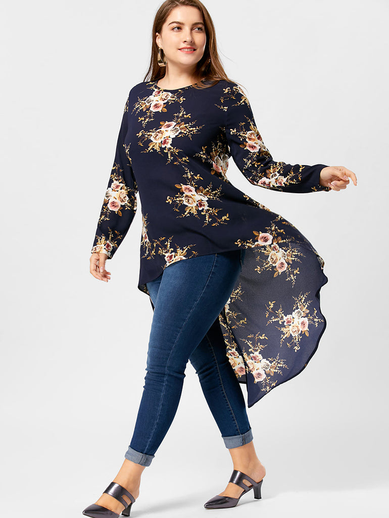 4a4e483dd22 ... Plus Size Floral Print High Low Hem Blouse Shirt Women Long Sleeve  Asymmetrical Chiffon Loose Tops ...