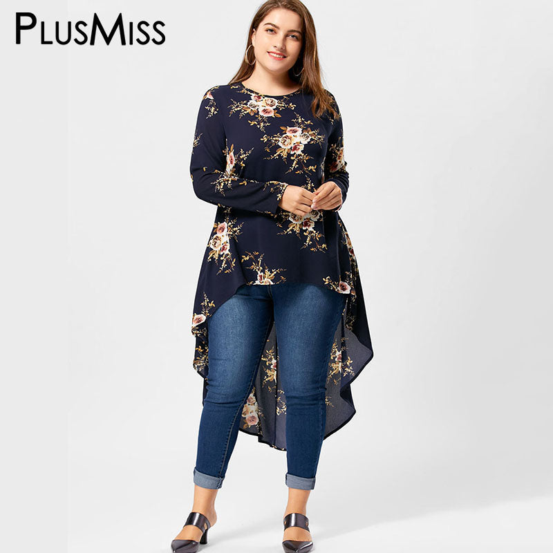 Plus Size Floral Print High Low Hem Blouse Shirt Women Long Sleeve Asymmetrical Chiffon Loose Tops