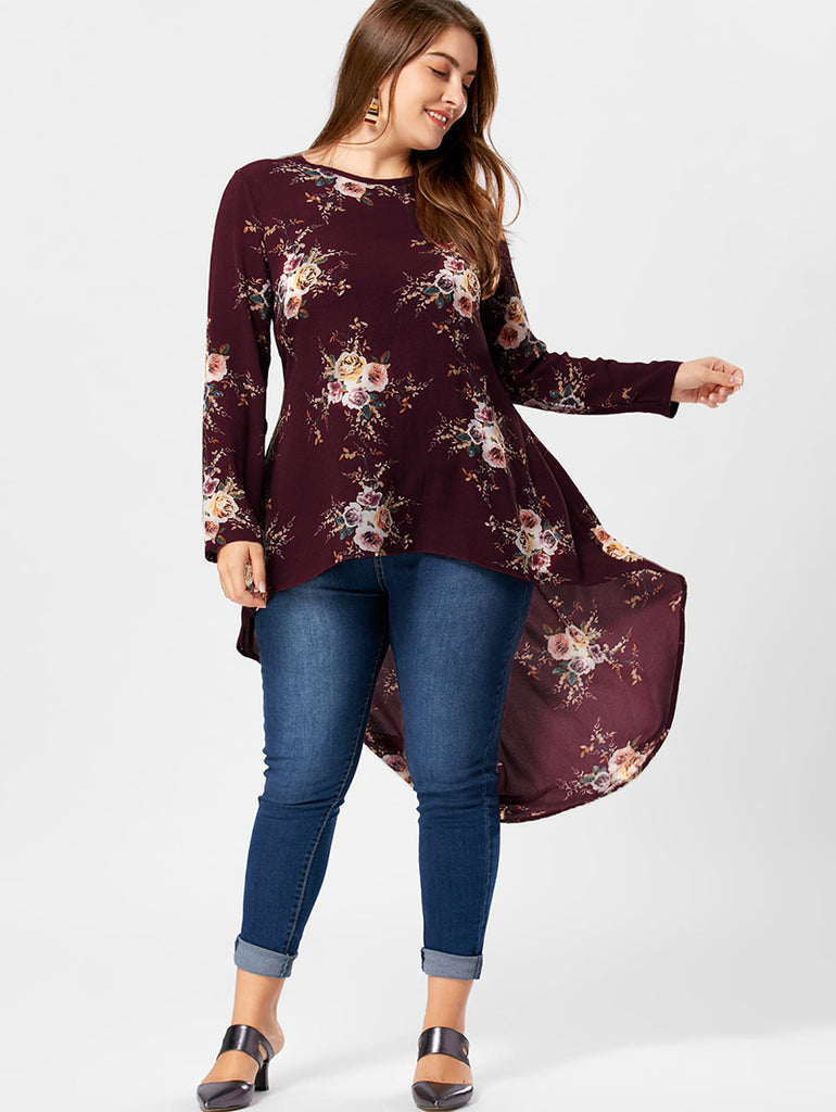 9e8305a9cae Plus Size Floral Print High Low Hem Blouse Shirt Women Long Sleeve  Asymmetrical Chiffon Loose Tops ...