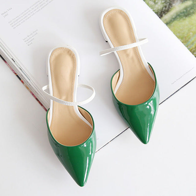 Pointed Flat Slippers Summer Toe Cap Wear Cool Drag Girl Women Half Slippers