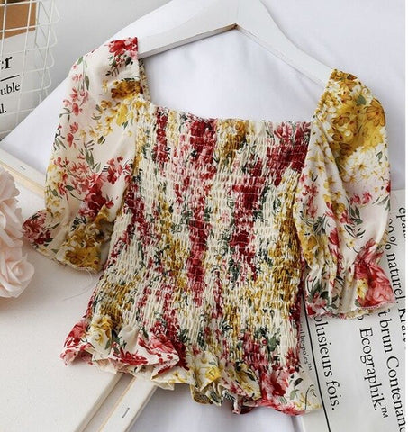 Print Stretchy Flower Shirt Summer Sweet Ruffles Slash Neck Blouses Women Short Sleeve Crop Tops
