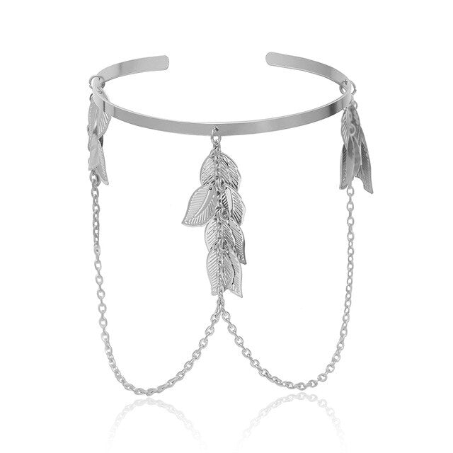 Bohemian Leaf Charm Upper Arm Bracelet Metal Leaves Tassel Pendants Cuff Bangle Bracelets Jewelry