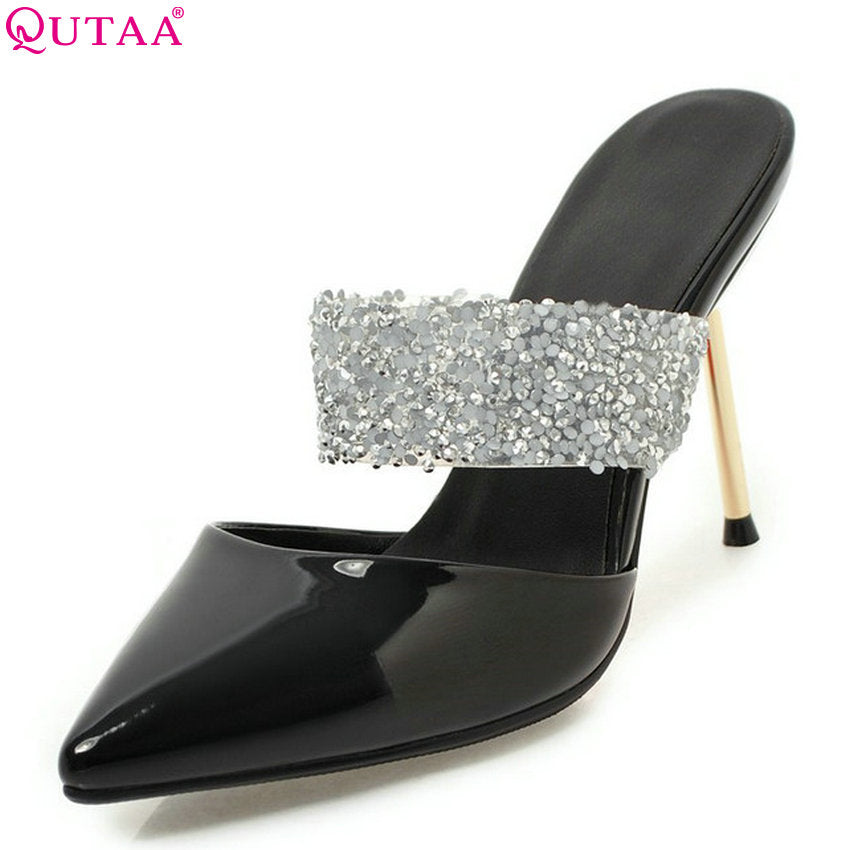Women Pumps Patent Leather Shoes Slip on Pointed Toe Thin High Heel Wedding Pumps