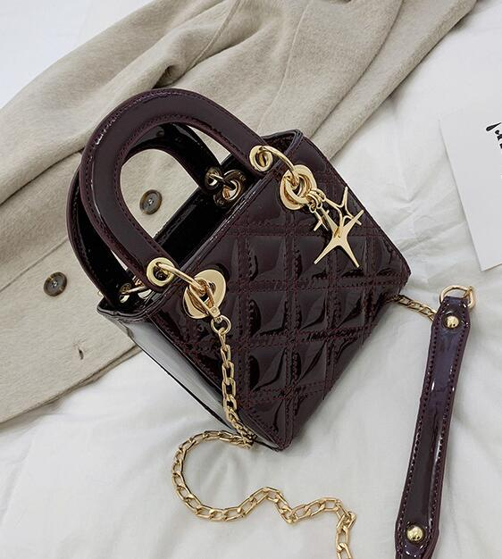 Chain Strap Women Shoulder Bag Small Patent Leather Handbag Casual Messenger Crossbody Bags