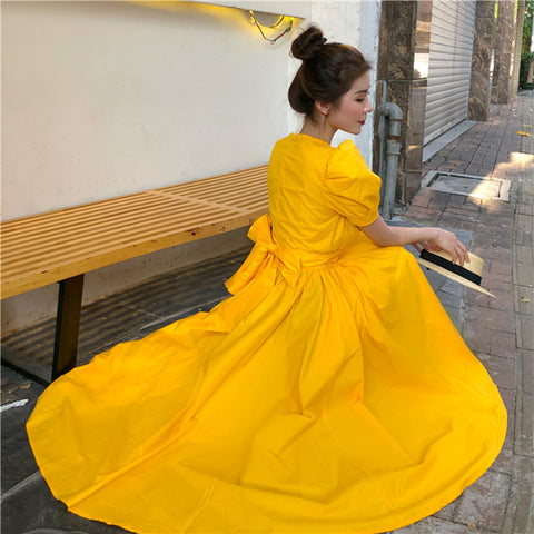 Big Bow Women Party Dress Solid Short Sleeve Long Maxi Party Korean Boho Dresses