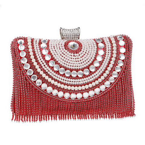 Rhinestones Tassel Clutch Diamonds Beaded Bags Chain Shoulder Messenger Purse Evening Wedding Bag