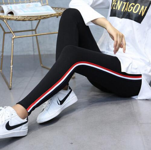 Plus Size Leggings Women Side Striped High Waist Gothic Black Leggings Pants