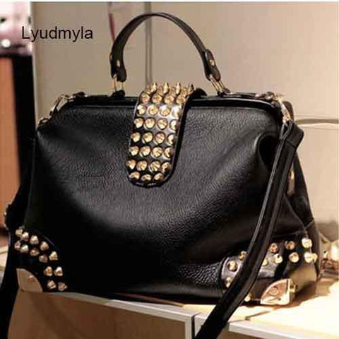 Rivet Women Bag Vintage Leather Punk Studded Shoulder Black Ladies Office Work Handbag