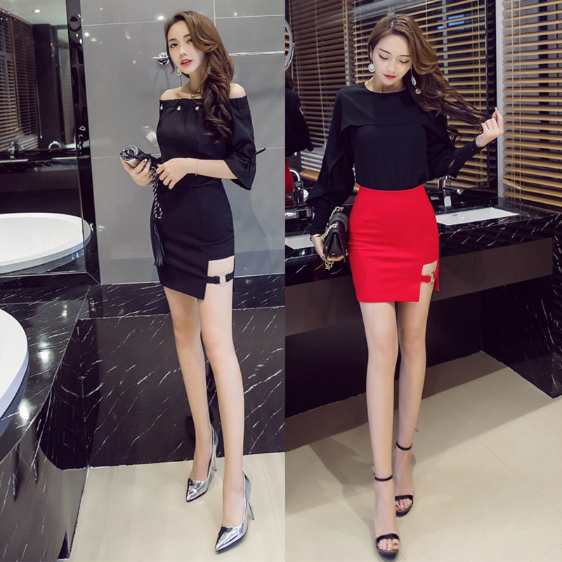 9395ca7515d1 ... Plus Size Black Pencil Skirt Summer Bodycon High Waist Skirts Women  Tight Sexy Mini Red Skirt ...