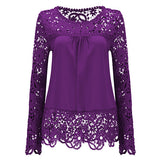 Large Size Women Lace Long Sleeve Chiffon Blouses Shirt Crochet Tops Blouse Plus Size