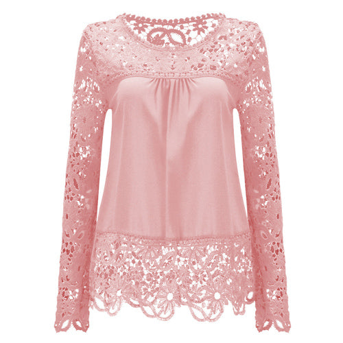 Large Size Women Lace Long Sleeve Chiffon Blouses Shirt Crochet Tops