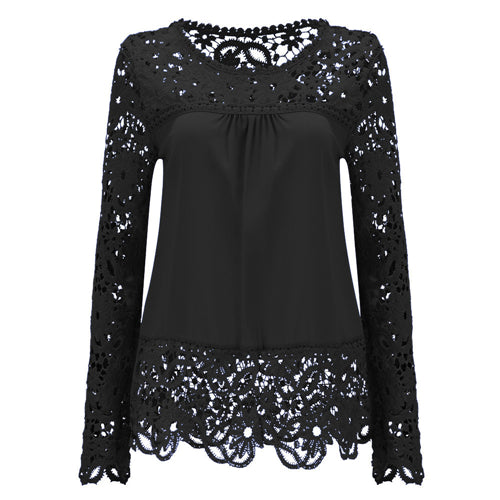 ca79075e5dece5 ... Large Size Women Lace Long Sleeve Chiffon Blouses Shirt Crochet Tops  Blouse Plus Size ...