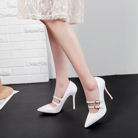 Pointed Toe Solid High Heel Shoes Nightclub Women Pumps Thin Heel Buckle Wedding Party Shoes