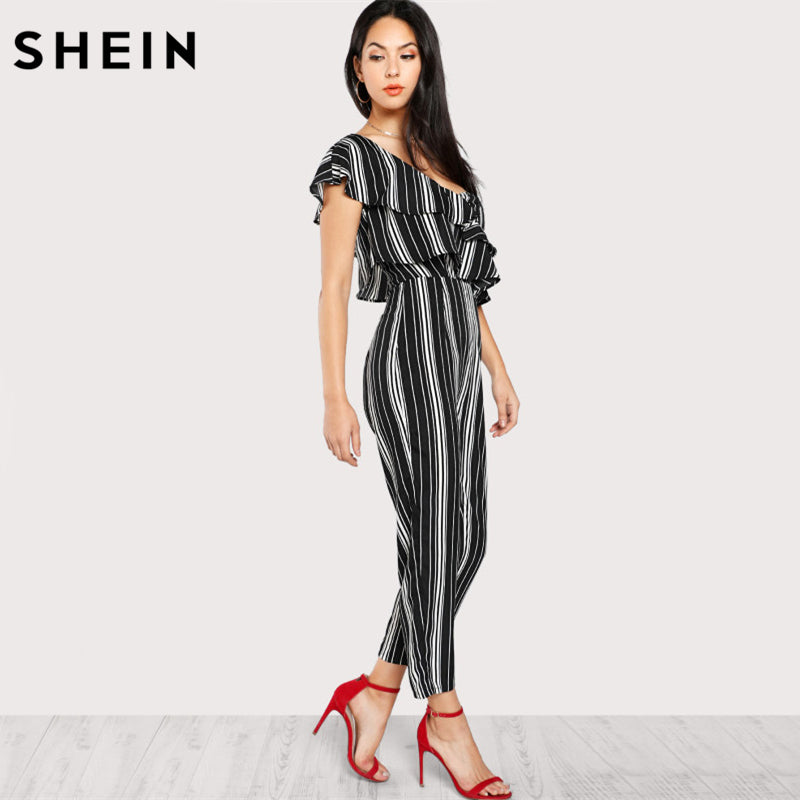 Black & White Striped Women Summer One Shoulder Tiered Layer Sleeveless Mid Waist Party Jumpsuit