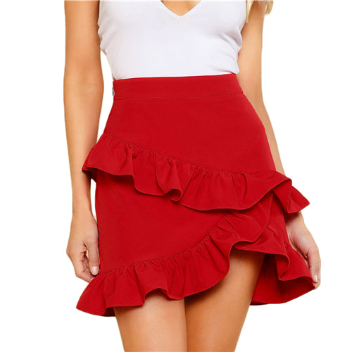 23e412dd3c70b Hem Summer Women Skirts Solid Red High Waist Short Skirt Asymmetrical  Layered Ruffle Skirt